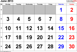 Calendar June 2013, landscape orientation, large numerals, 1 page, with UK bank holidays and week numbers