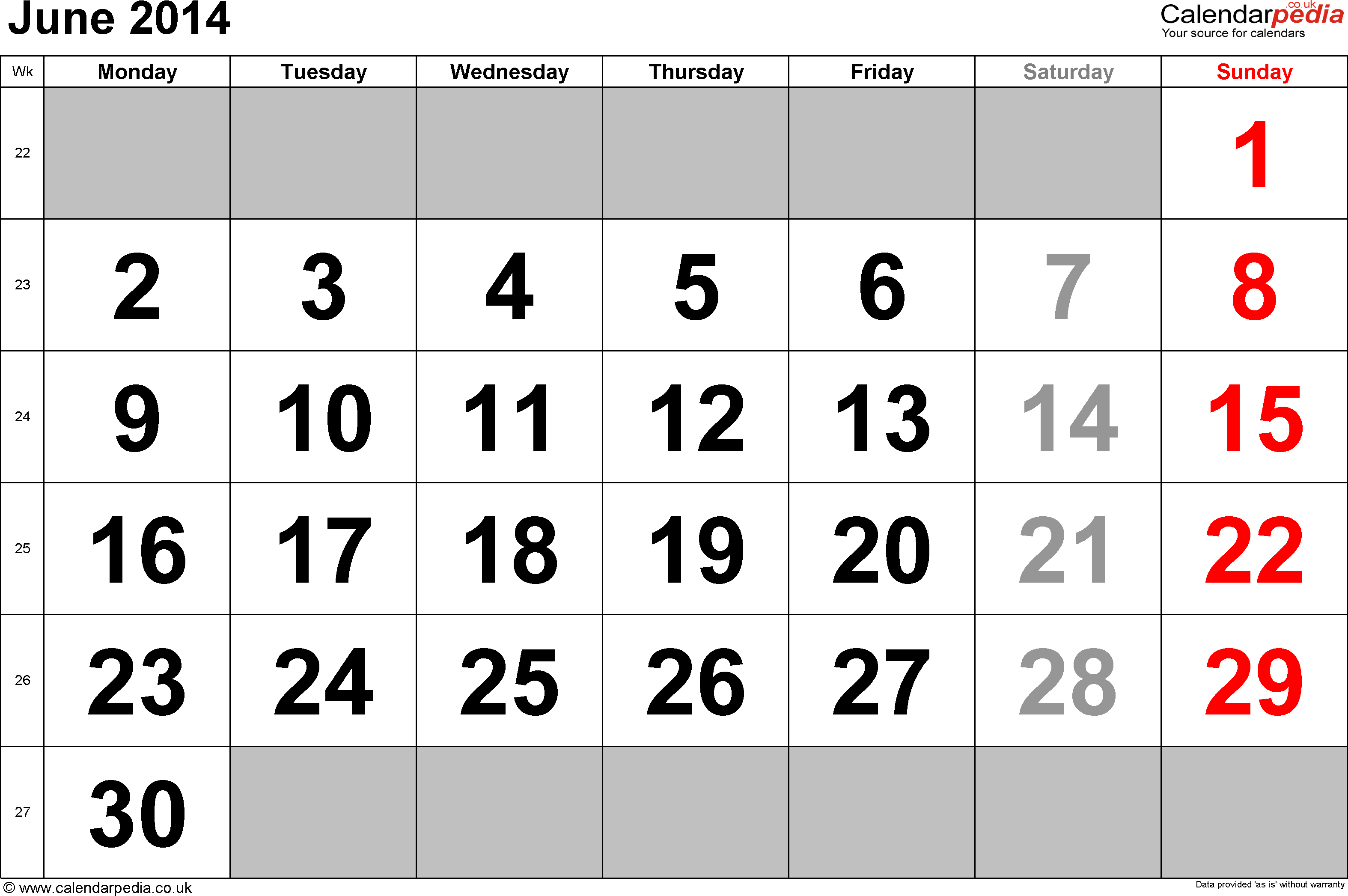 Calendar June 2014, landscape orientation, large numerals, 1 page, with UK bank holidays and week numbers
