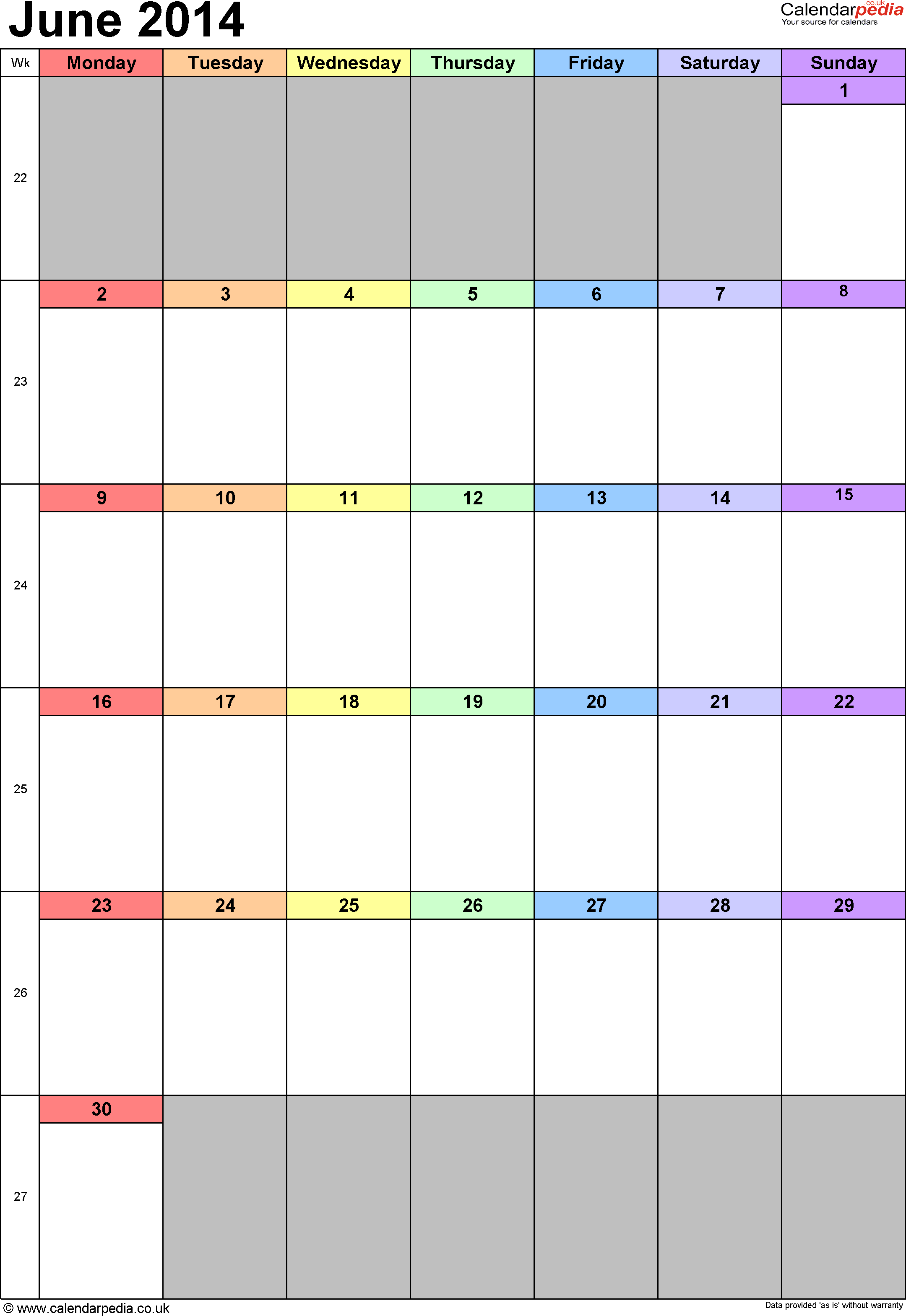 Calendar June 2014 portrait orientation, 1 page, with UK bank holidays and week numbers