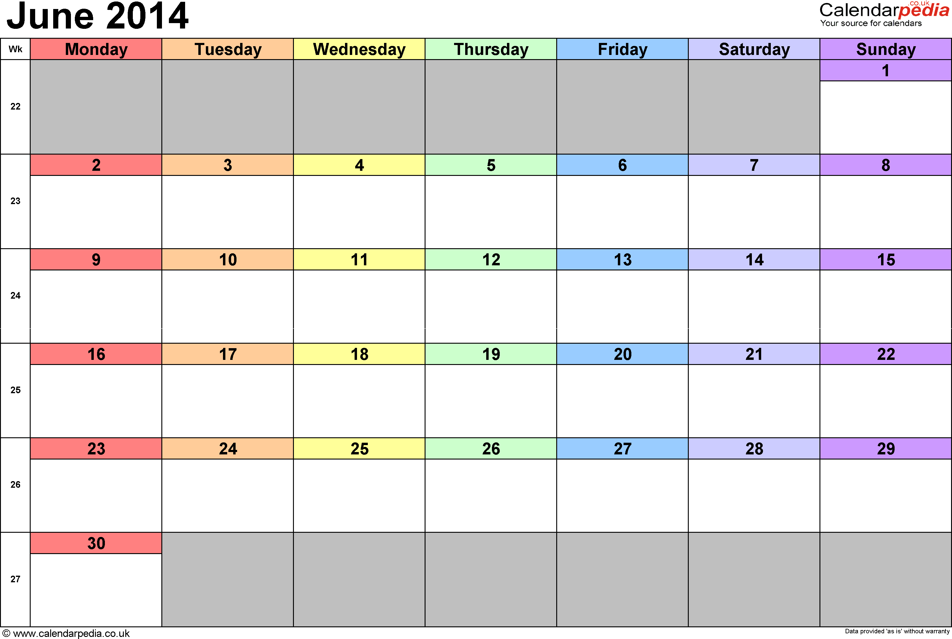 Calendar June 2014, landscape orientation, 1 page, with UK bank holidays and week numbers