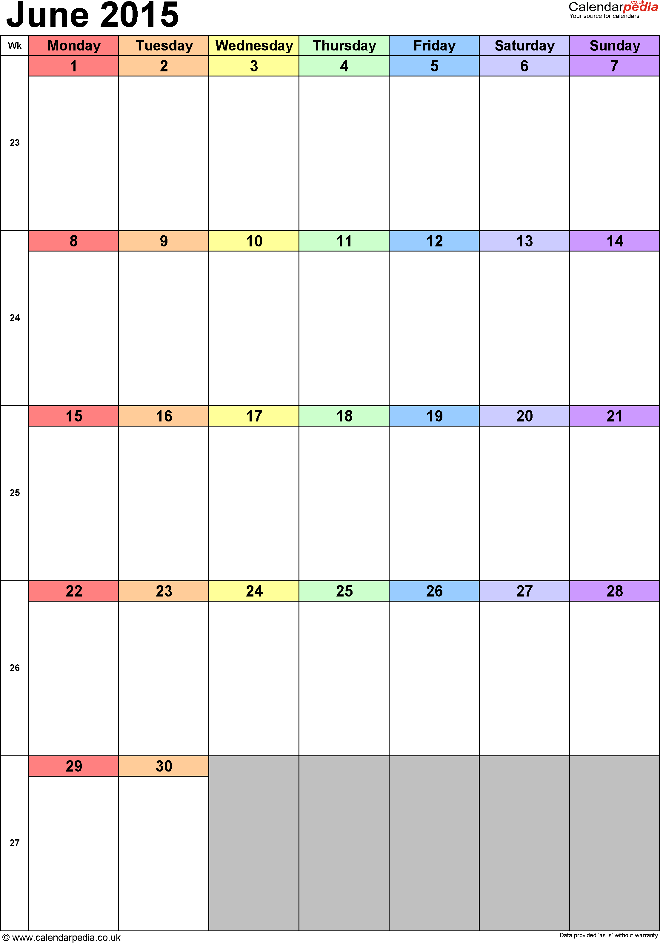 2015 June: Calendar June 2015 UK, Bank Holidays, Excel/PDF/Word Templates