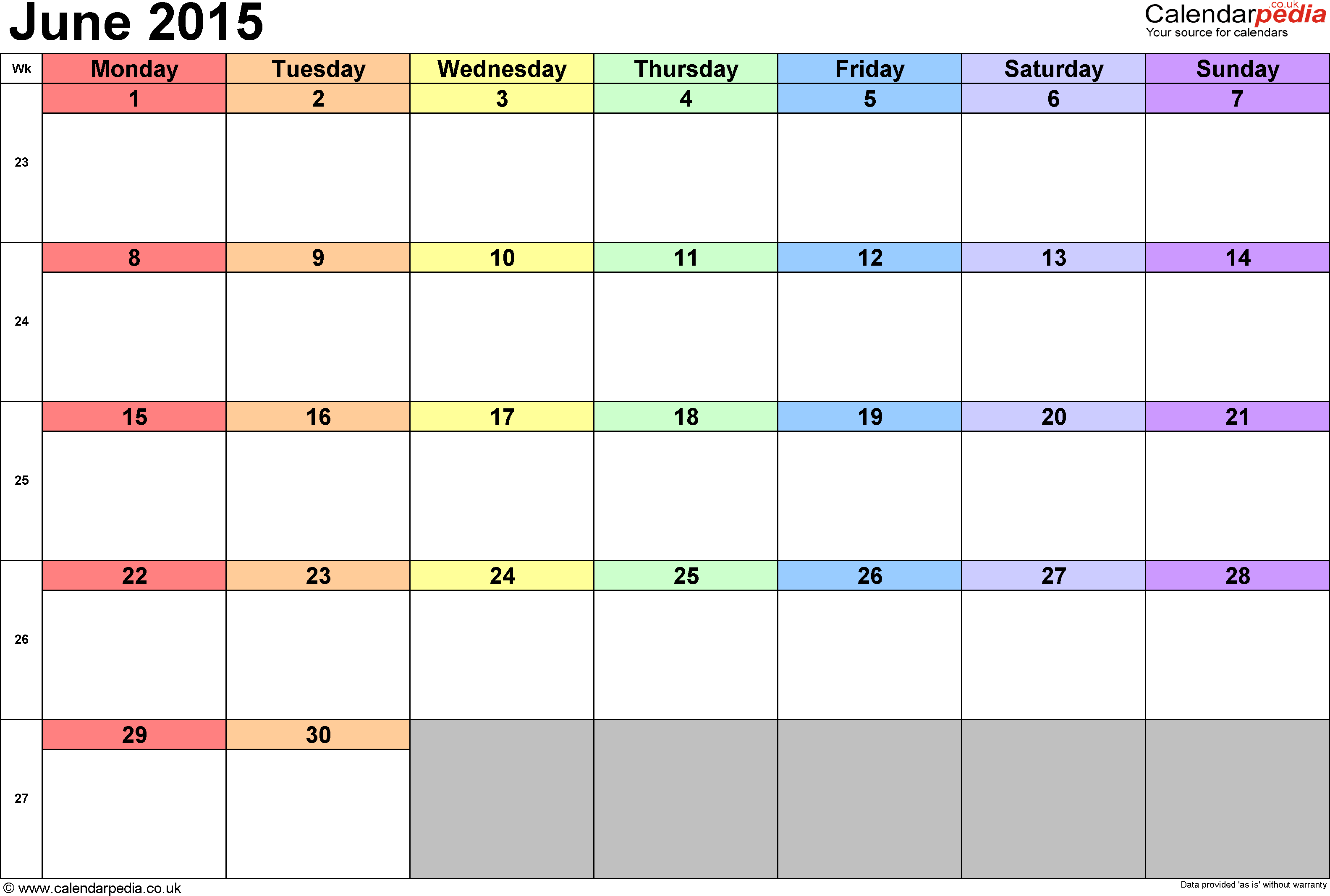 Calendar June 2015, landscape orientation, 1 page, with UK bank holidays and week numbers