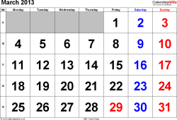 Calendar March 2013, landscape orientation, large numerals, 1 page, with UK bank holidays and week numbers