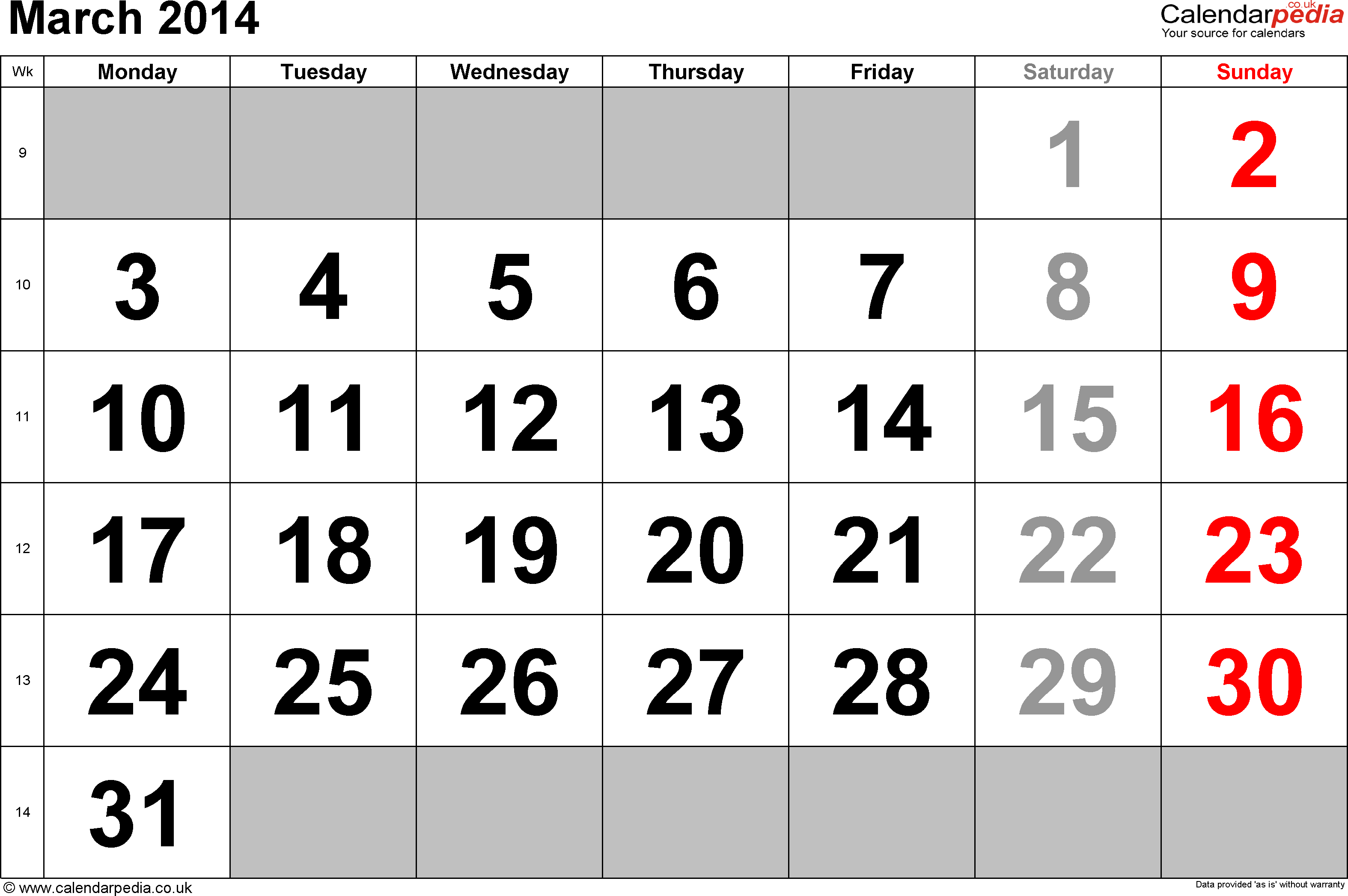 Calendar March 2014, landscape orientation, large numerals, 1 page, with UK bank holidays and week numbers