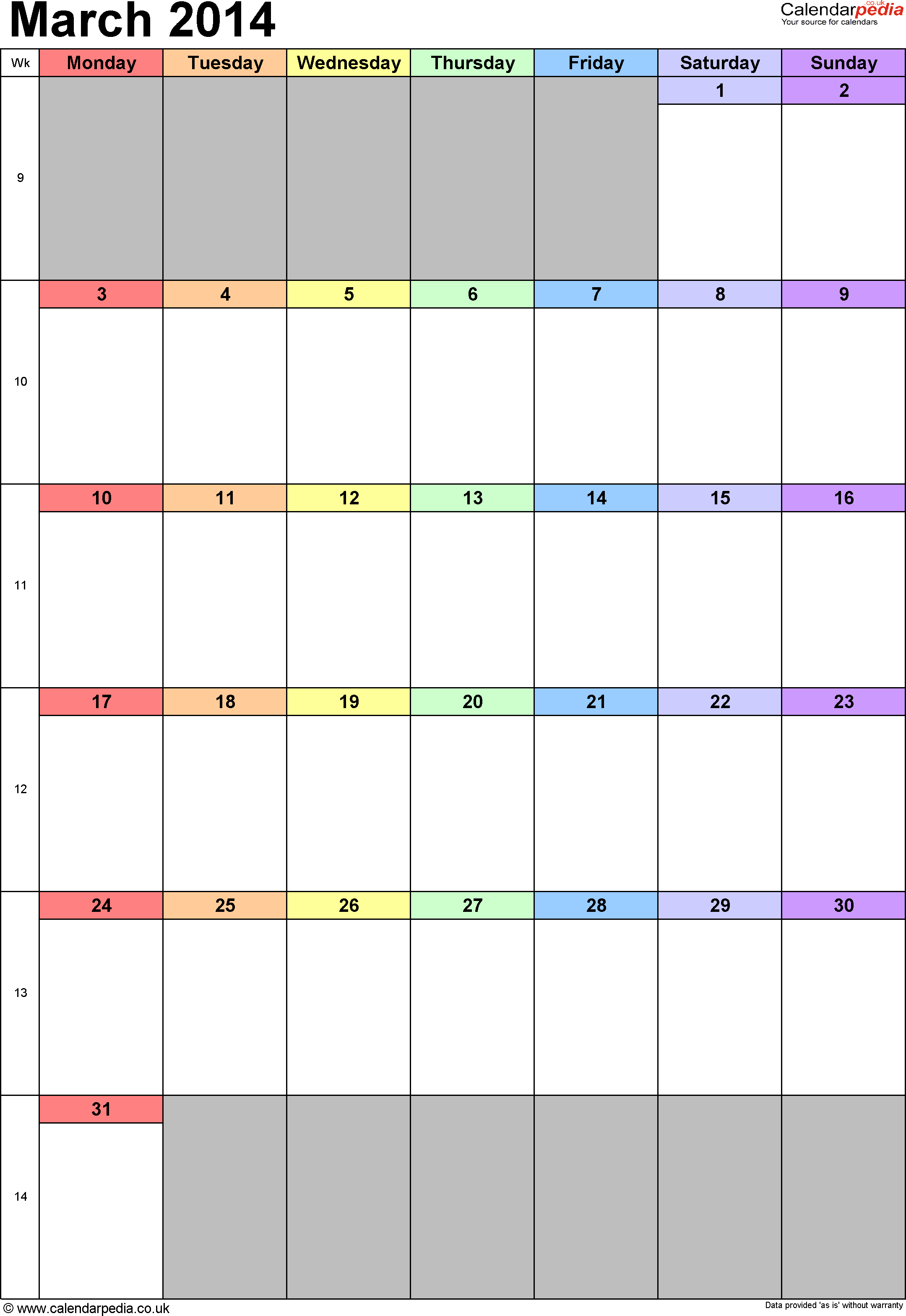 Calendar March 2014 portrait orientation, 1 page, with UK bank holidays and week numbers
