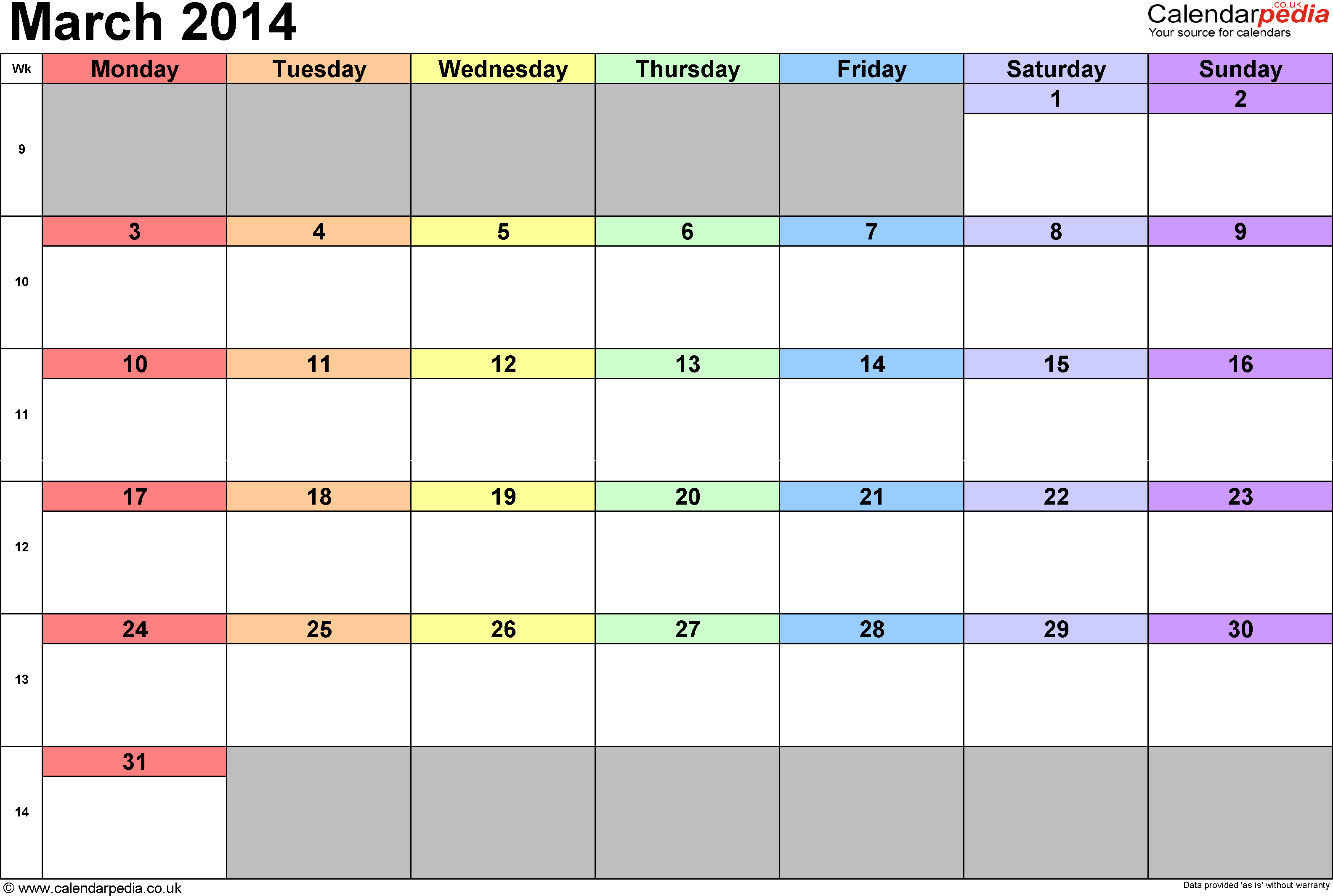 Calendar March 2014, landscape orientation, 1 page, with UK bank holidays and week numbers