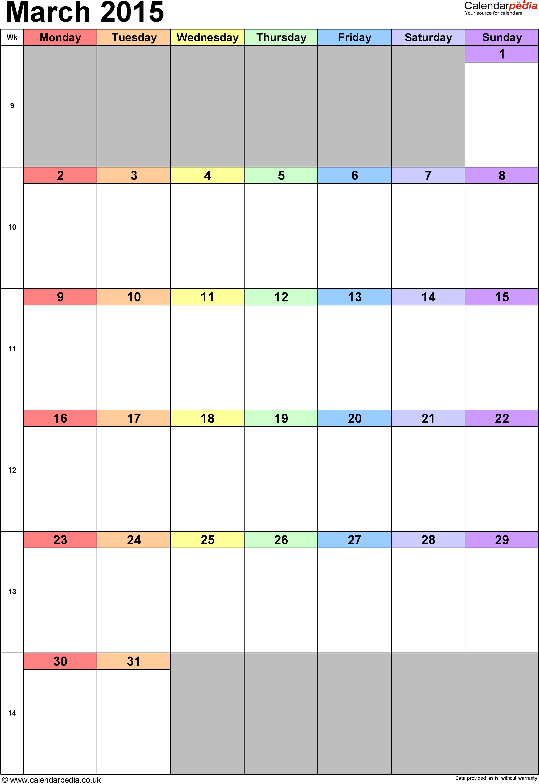 Calendar March 2015 portrait orientation, 1 page, with UK bank holidays and week numbers