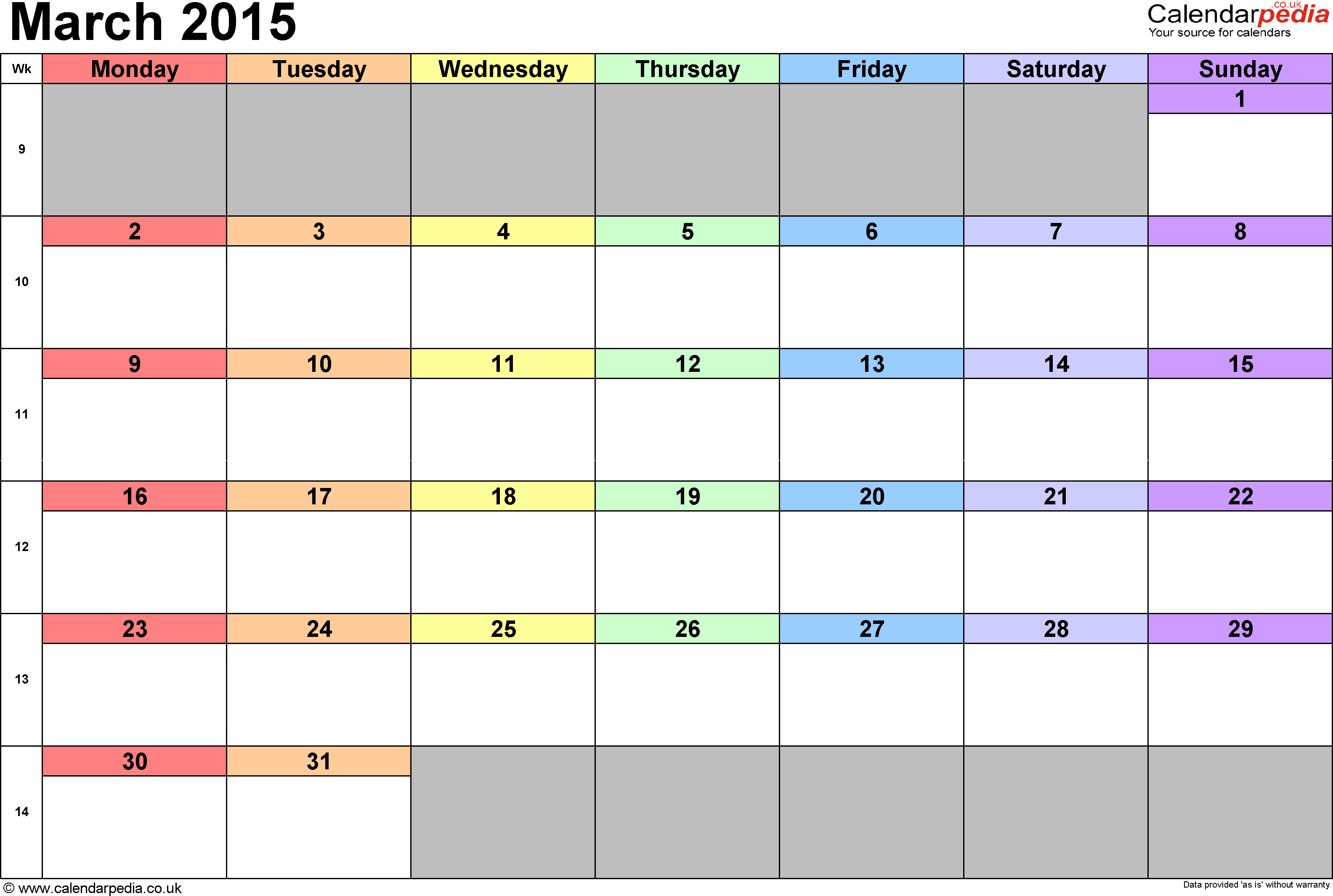 Calendar March 2015, landscape orientation, 1 page, with UK bank holidays and week numbers