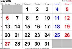 Calendar May 2013, landscape orientation, large numerals, 1 page, with UK bank holidays and week numbers