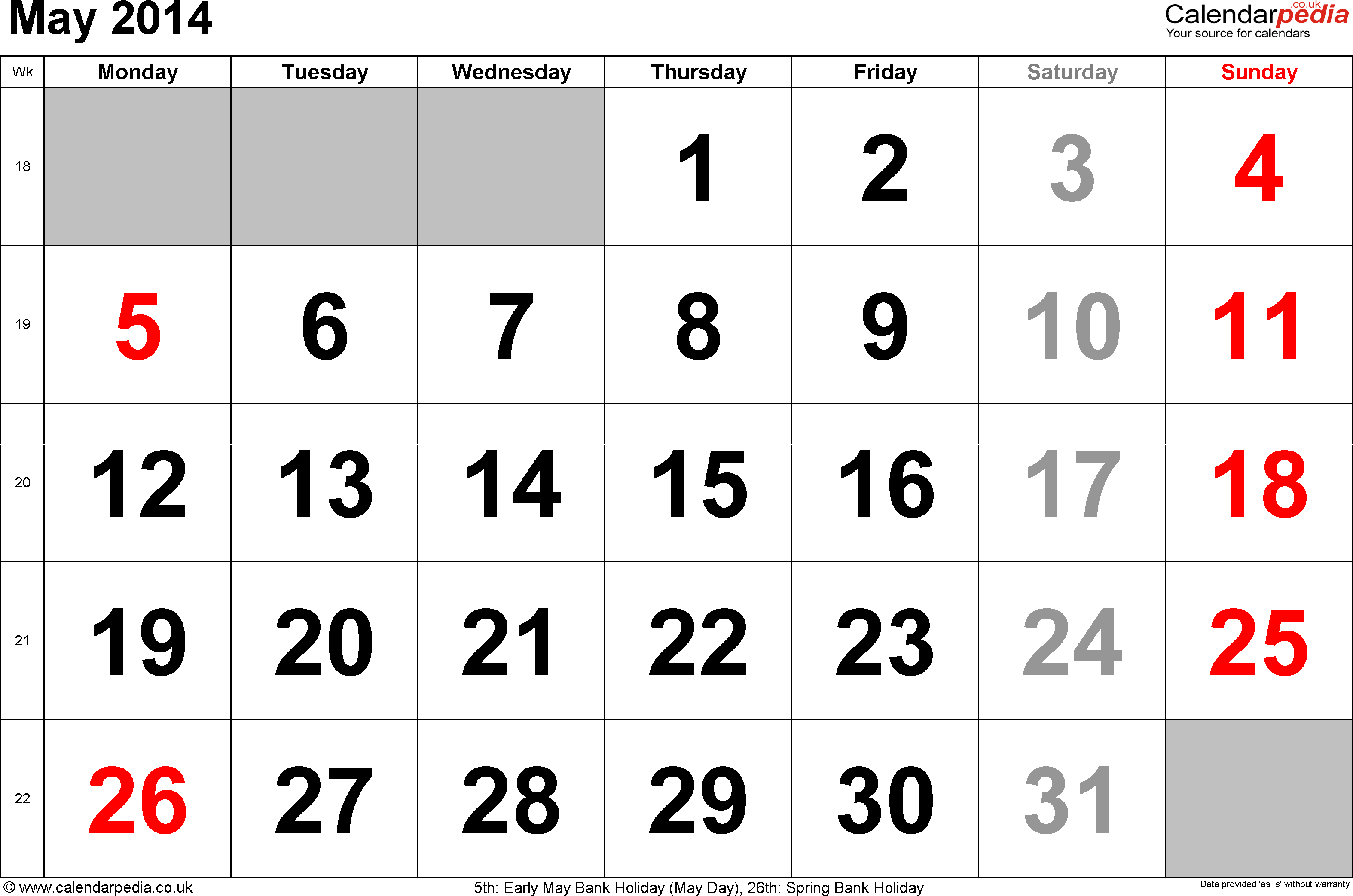 Calendar May 2014, landscape orientation, large numerals, 1 page, with UK bank holidays and week numbers