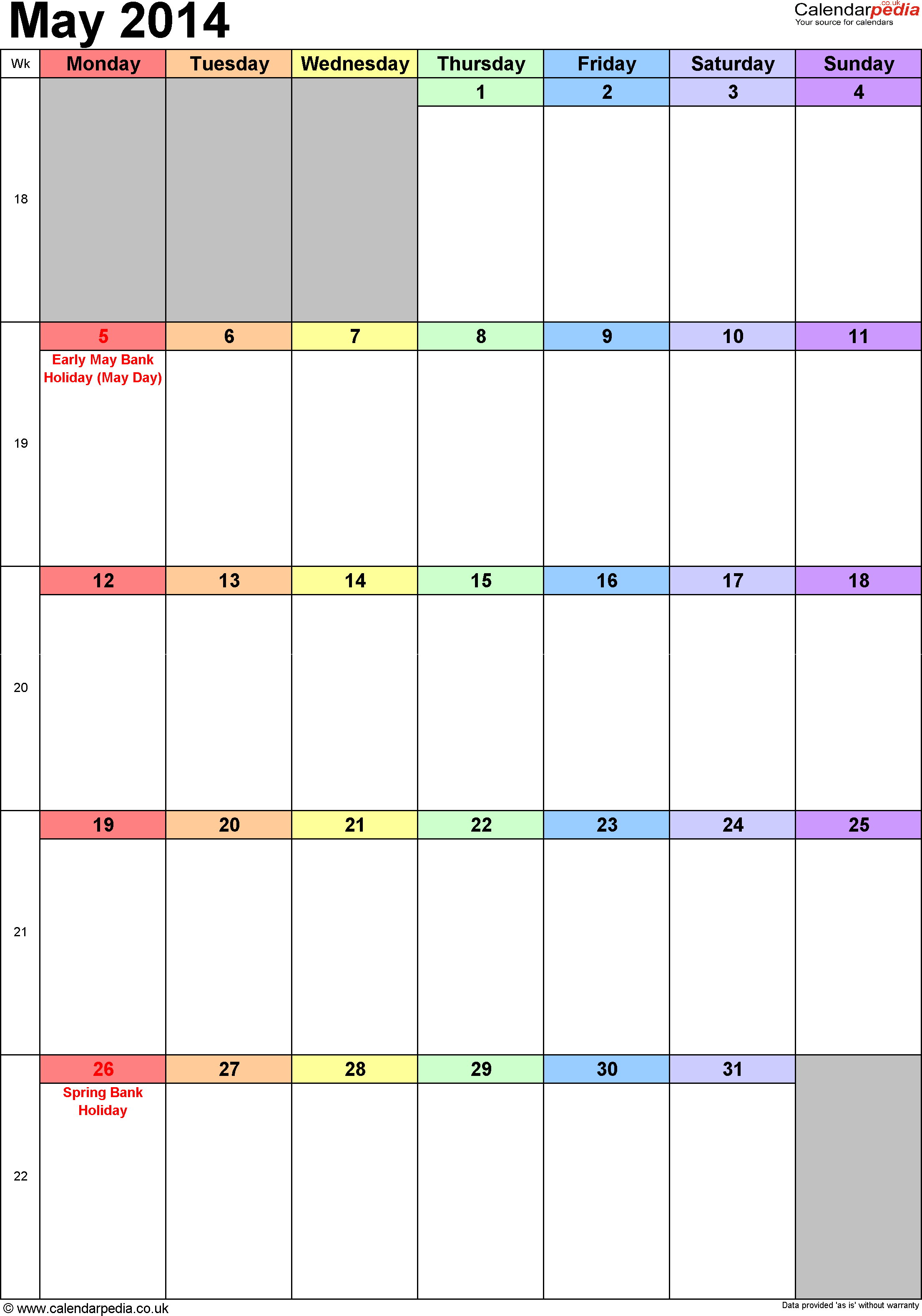 Calendar May 2014 portrait orientation, 1 page, with UK bank holidays and week numbers