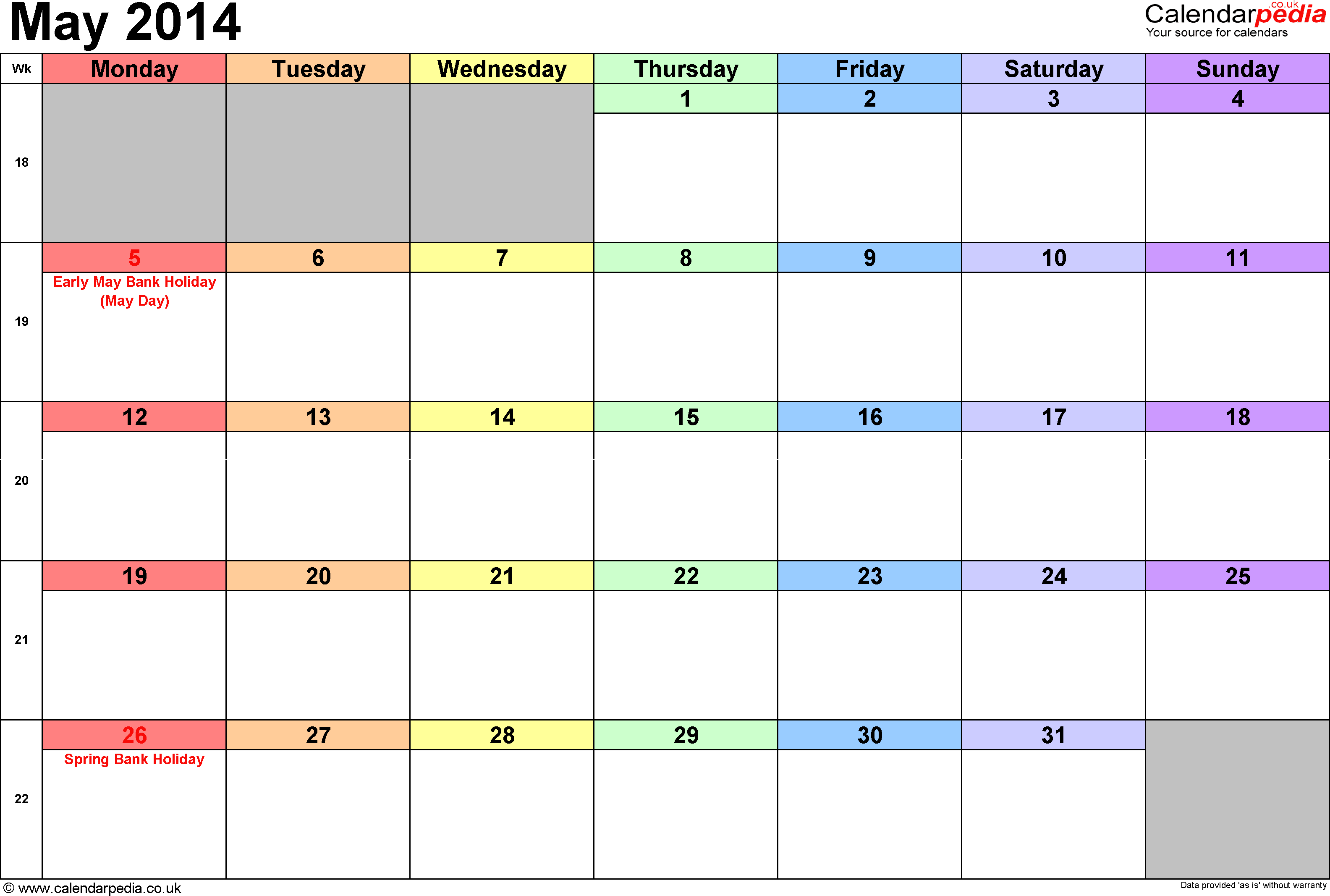 Calendar May 2014, landscape orientation, 1 page, with UK bank holidays and week numbers
