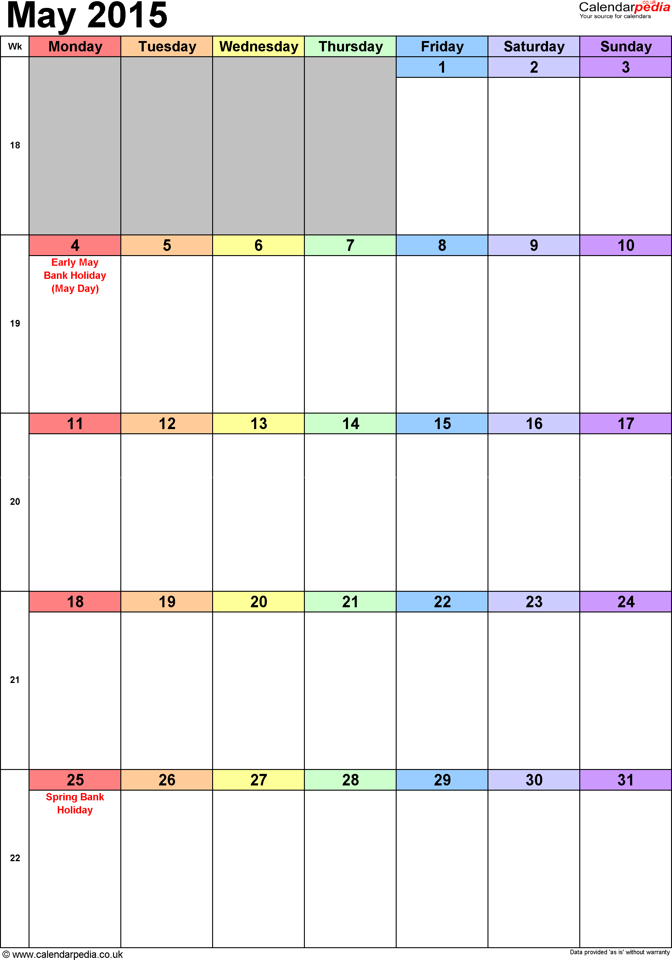 Calendar May 2015 portrait orientation, 1 page, with UK bank holidays and week numbers