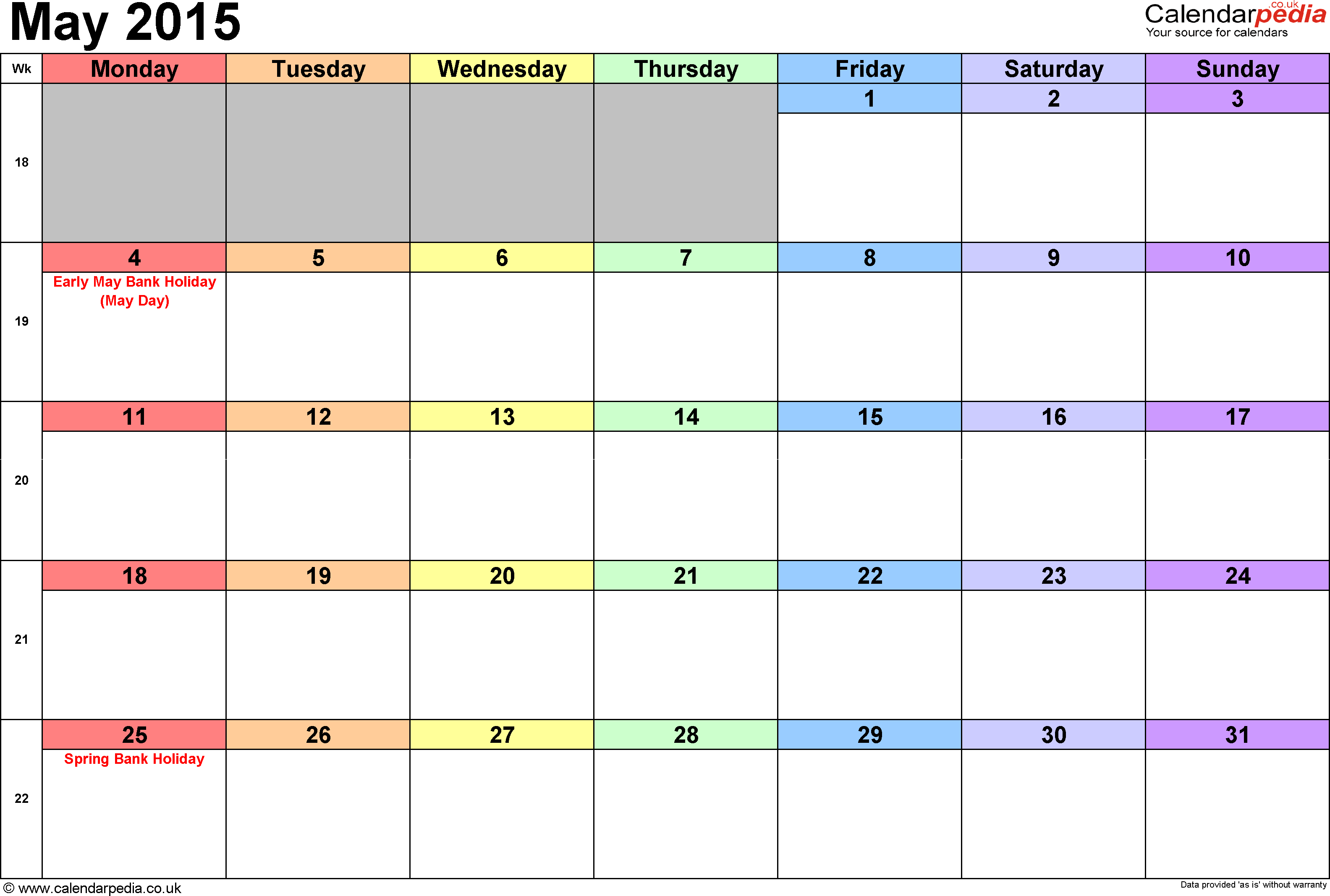 Calendar May 2015, landscape orientation, 1 page, with UK bank holidays and week numbers