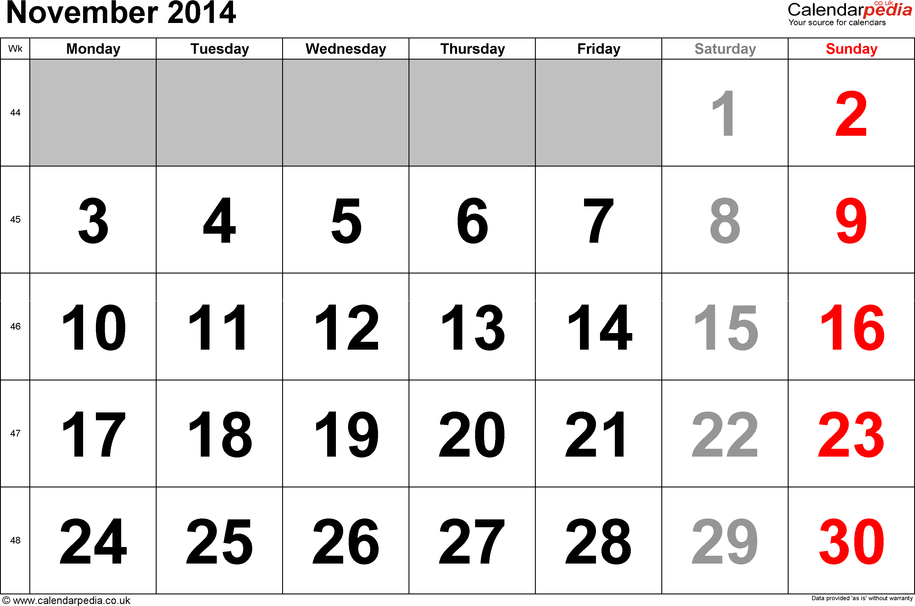 Calendar November 2014, landscape orientation, large numerals, 1 page, with UK bank holidays and week numbers