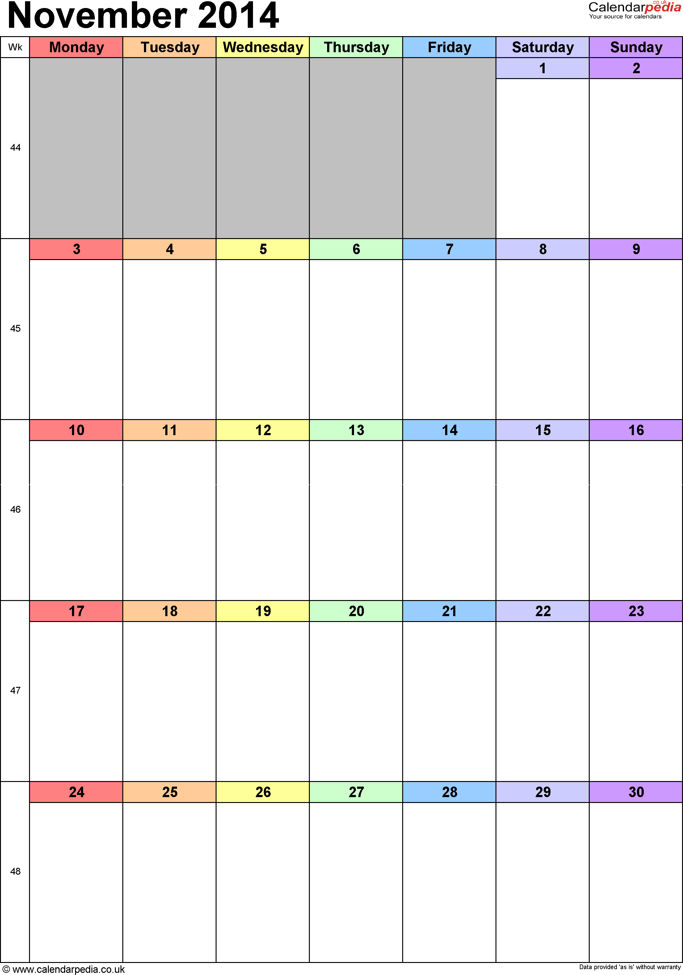 Calendar November 2014 Uk Bank Holidays Excelpdfword Templates
