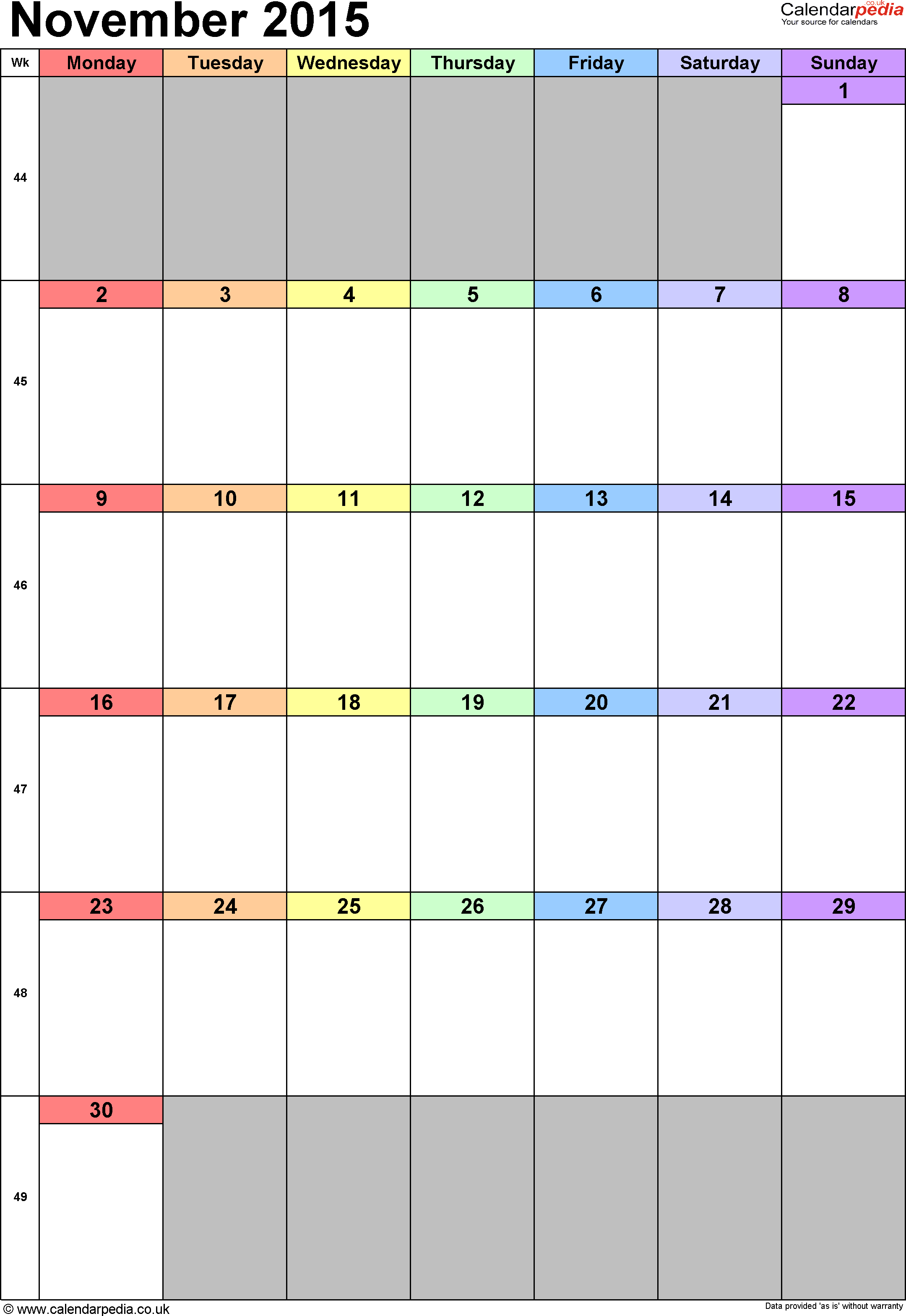 Calendar November 2015 portrait orientation, 1 page, with UK bank holidays and week numbers