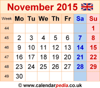 Calendar November 2015 as a graphic/image file in PNG format