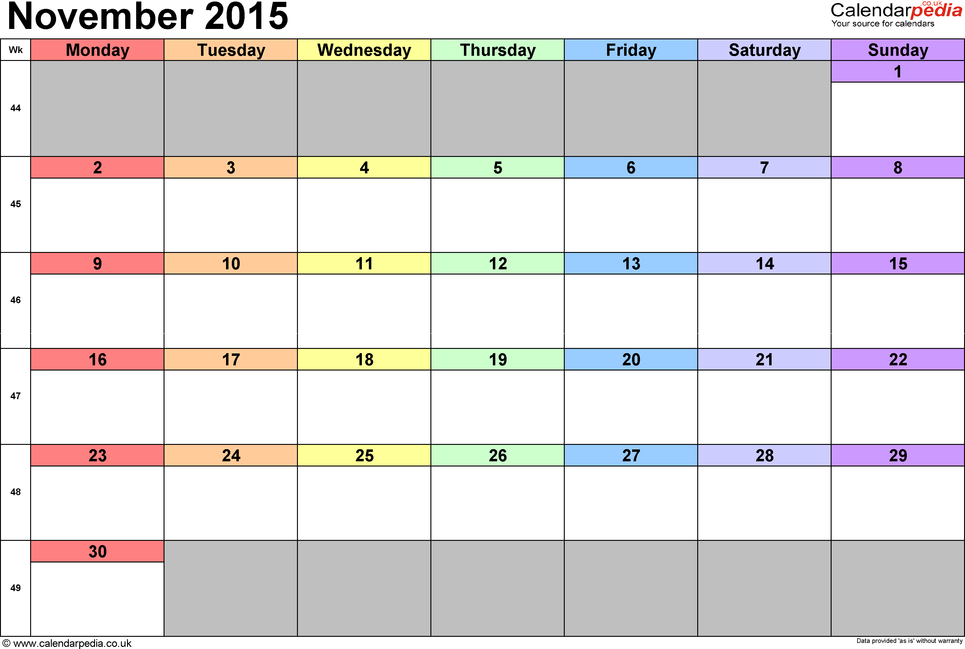 Calendar November 2015, landscape orientation, 1 page, with UK bank holidays and week numbers
