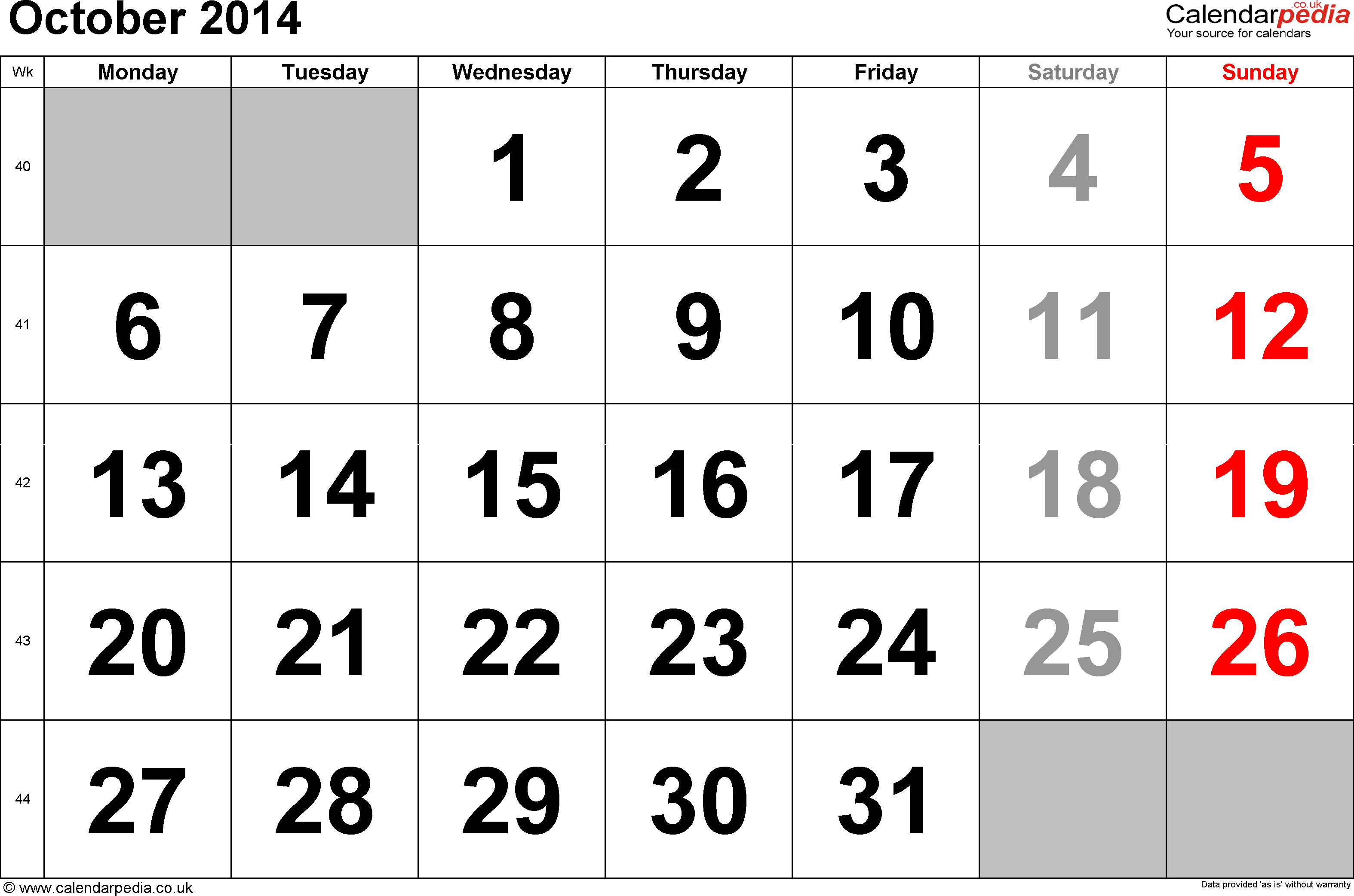 Calendar October 2014, landscape orientation, large numerals, 1 page, with UK bank holidays and week numbers