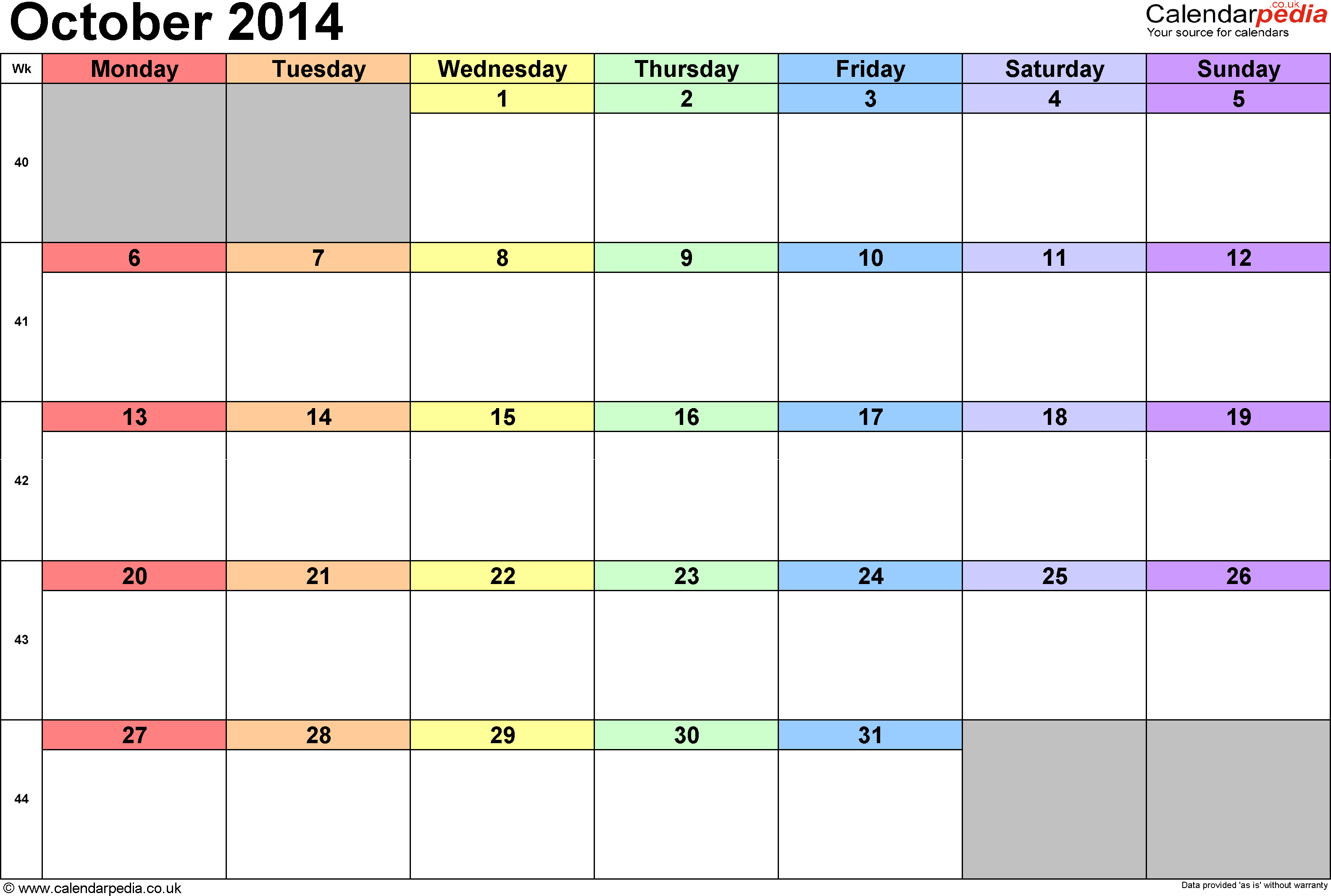 Calendar October 2014, landscape orientation, 1 page, with UK bank holidays and week numbers