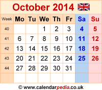 Calendar October 2014 as a graphic/image file in PNG format