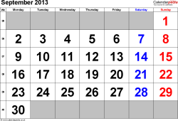Calendar September 2013, landscape orientation, large numerals, 1 page, with UK bank holidays and week numbers
