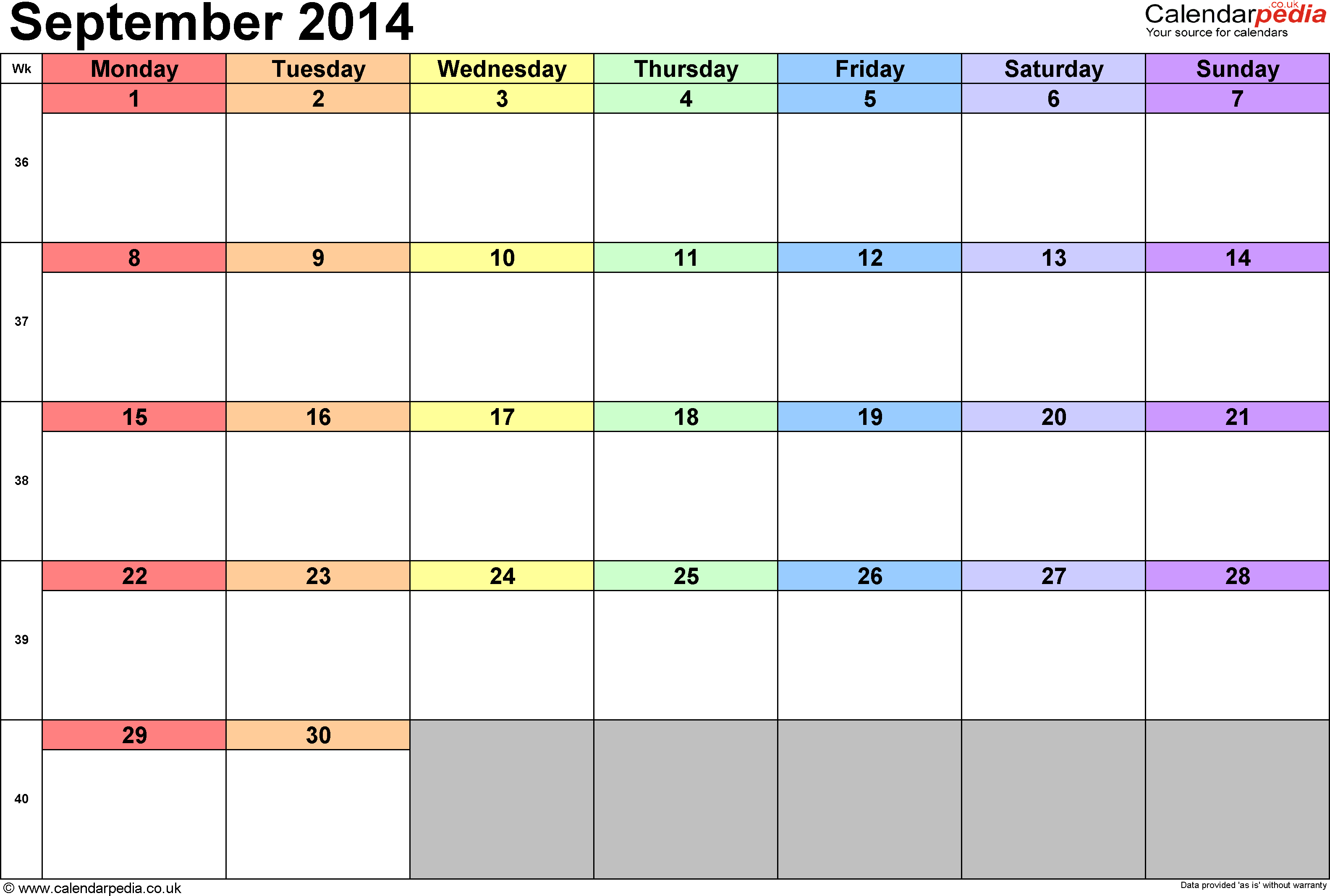 Calendar September 2014, landscape orientation, 1 page, with UK bank holidays and week numbers