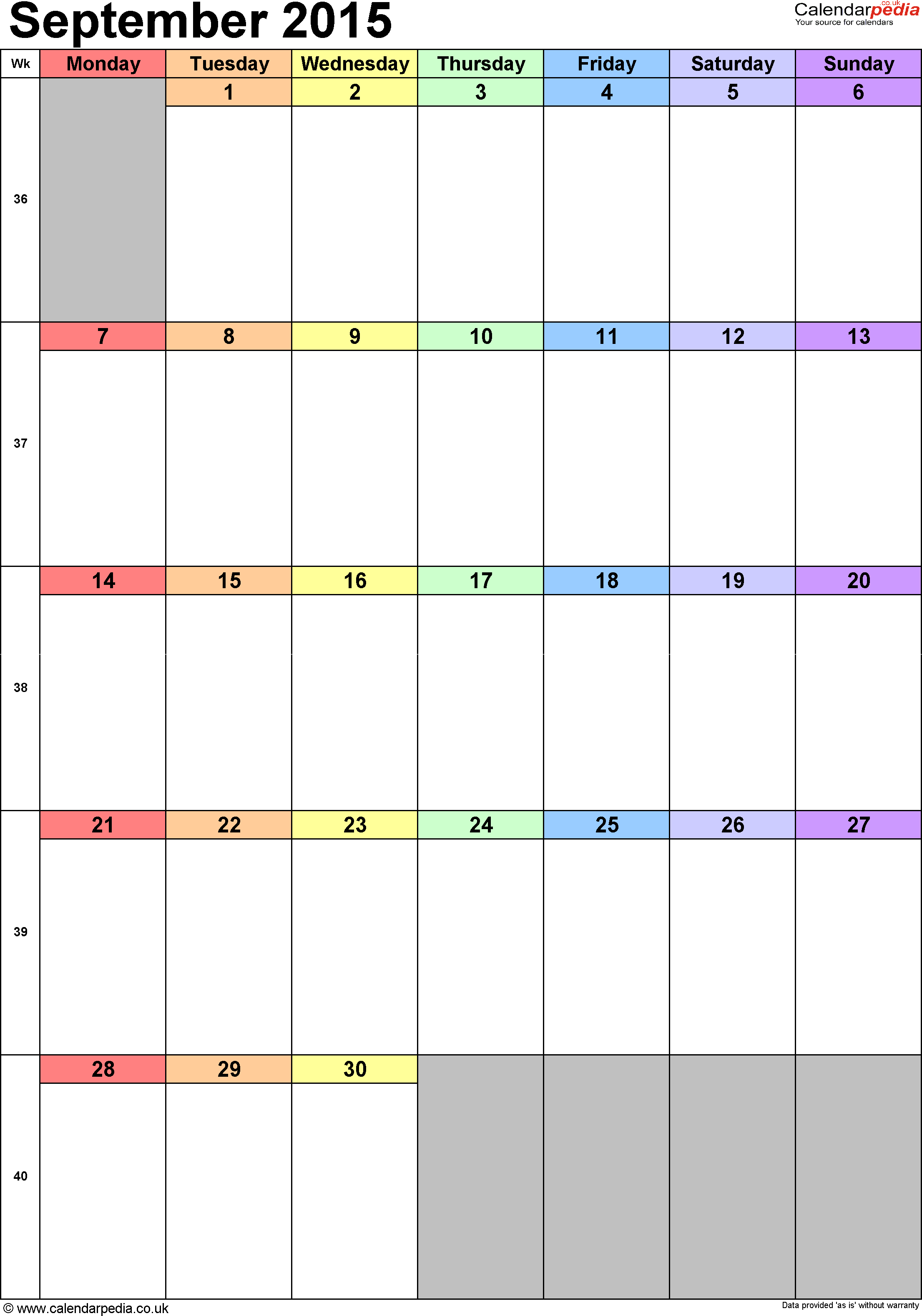 one week calendar template word