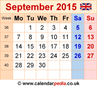 Calendar September 2015 UK, Bank Holidays, Excel/PDF/Word Templates
