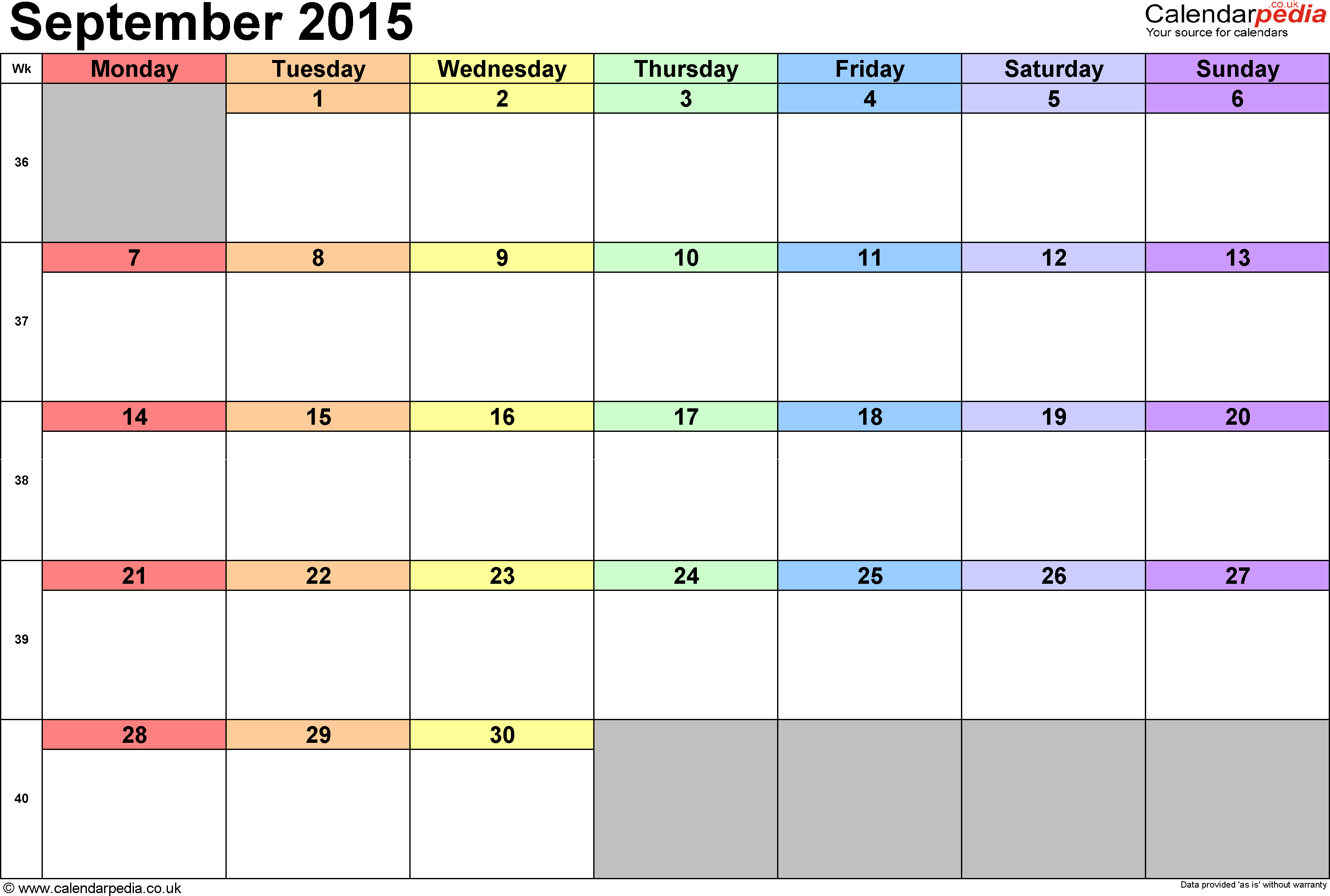 Calendar September 2015, landscape orientation, 1 page, with UK bank holidays and week numbers