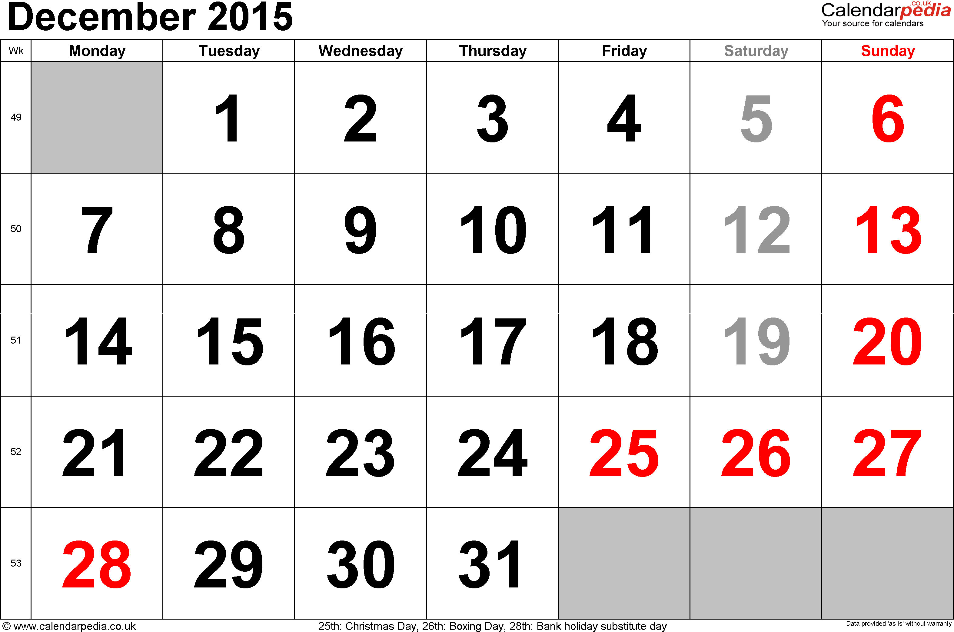 Calendar December 2015, landscape orientation, large numerals, 1 page, with UK bank holidays and week numbers