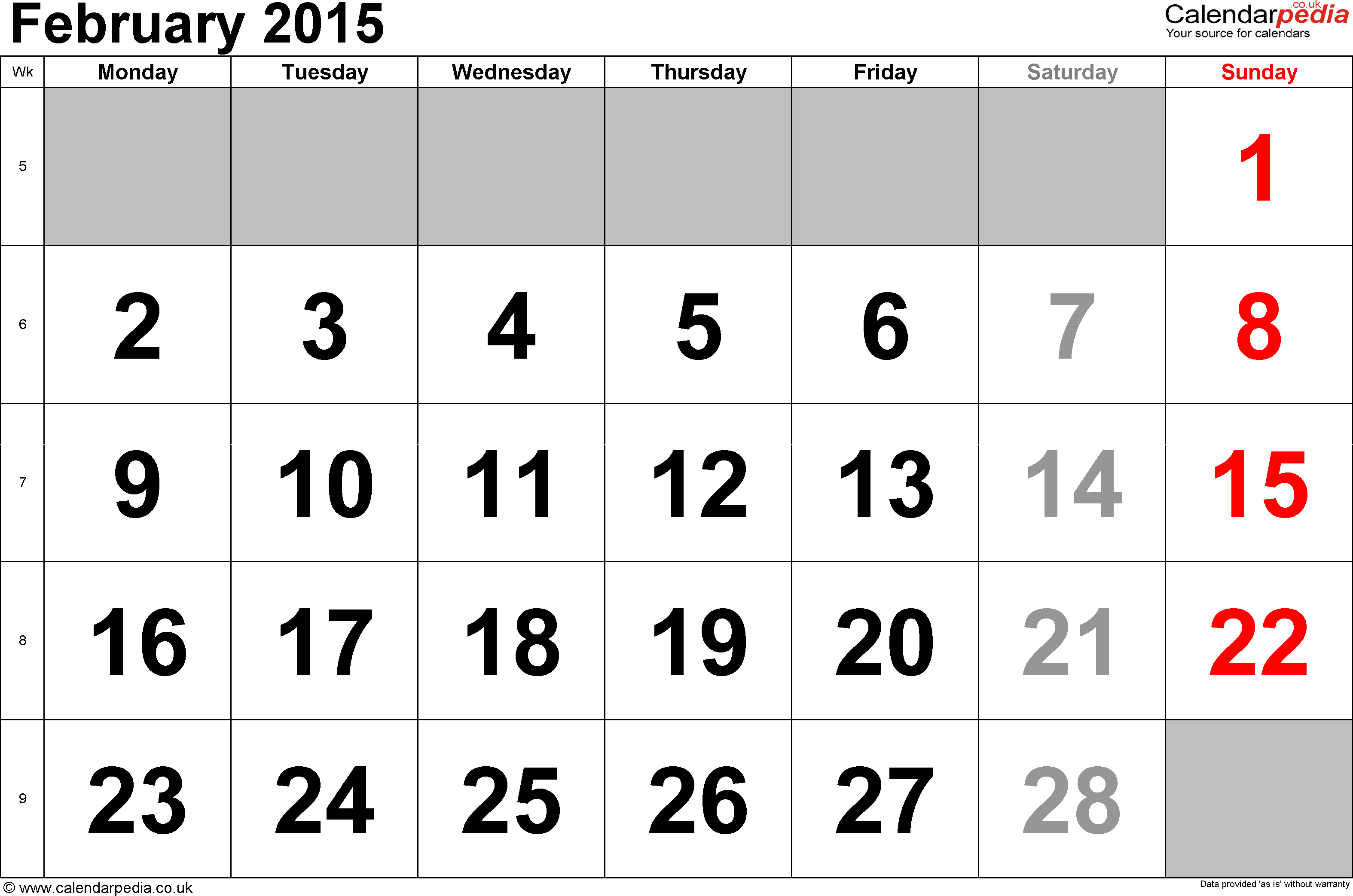 Calendar February 2015, landscape orientation, large numerals, 1 page, with UK bank holidays and week numbers