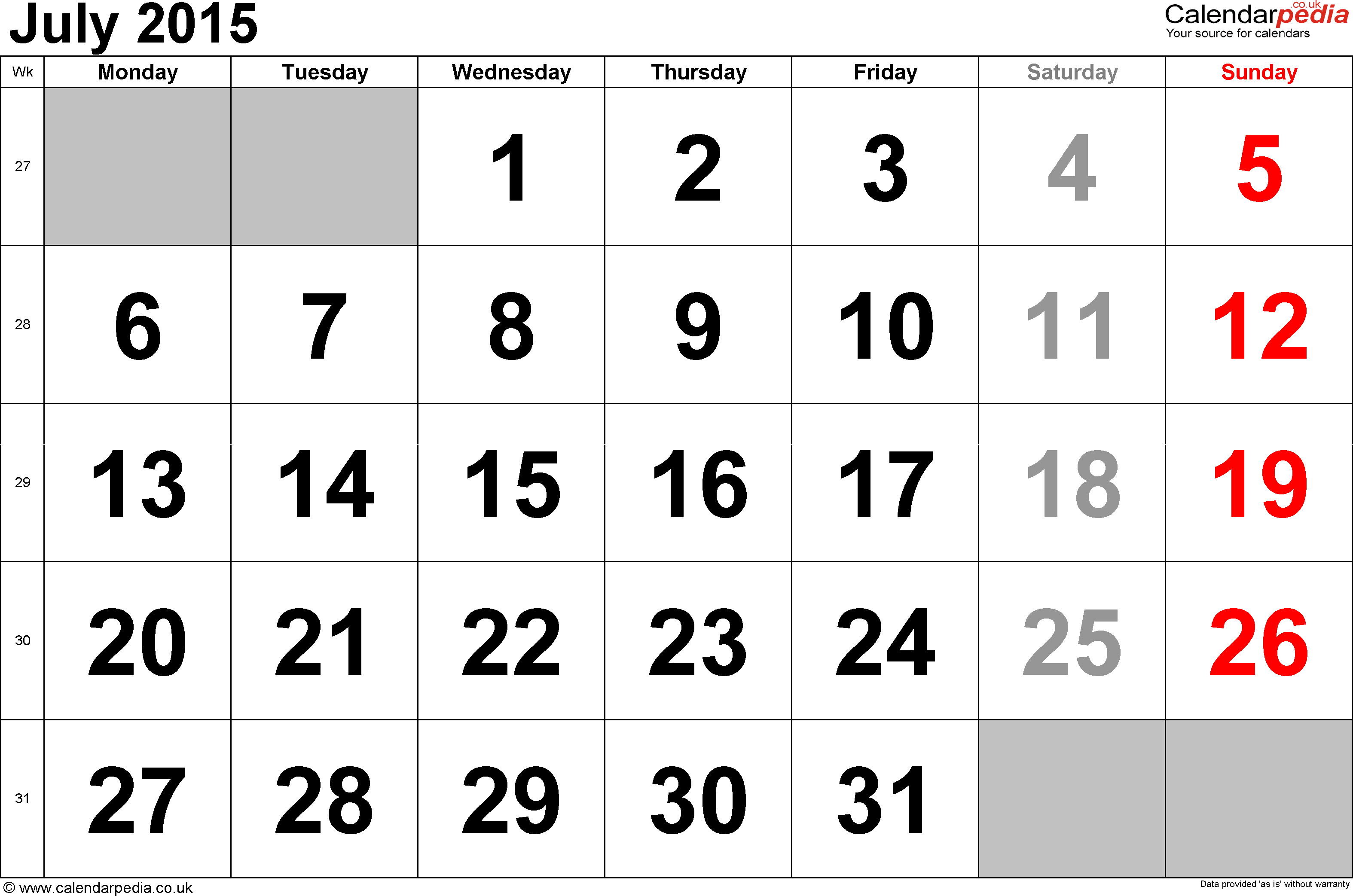 Calendar July 2015, landscape orientation, large numerals, 1 page, with UK bank holidays and week numbers