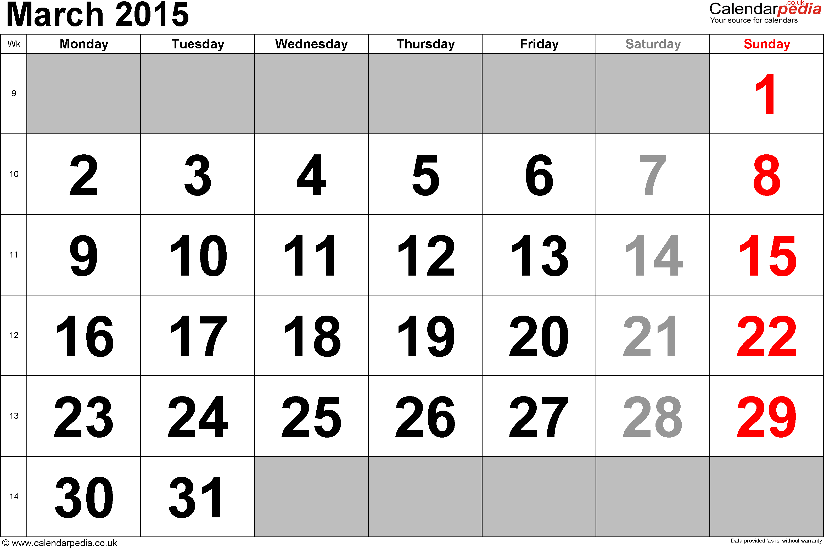 Calendar March 2015, landscape orientation, large numerals, 1 page, with UK bank holidays and week numbers