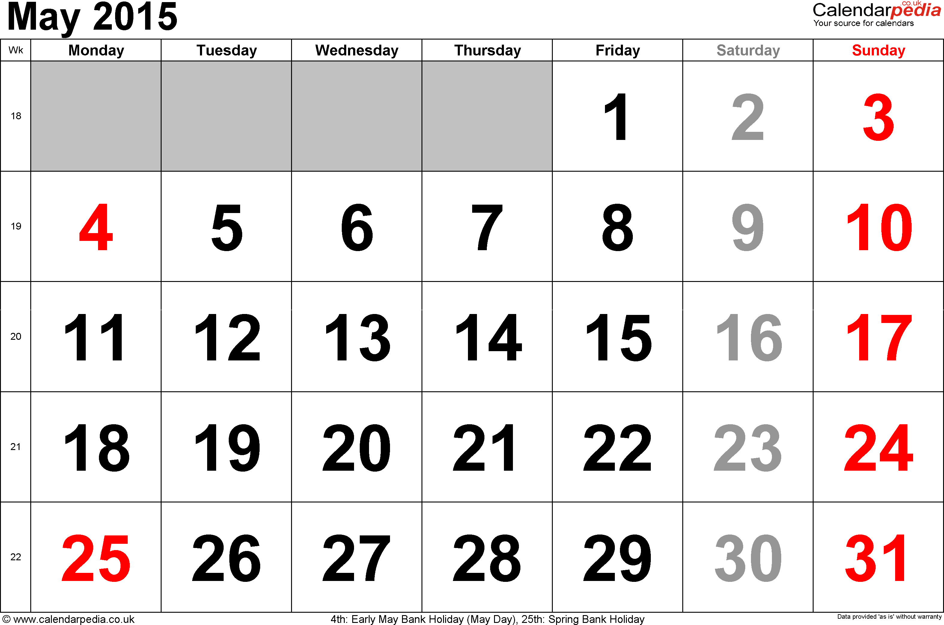 Calendar May 2015, landscape orientation, large numerals, 1 page, with UK bank holidays and week numbers