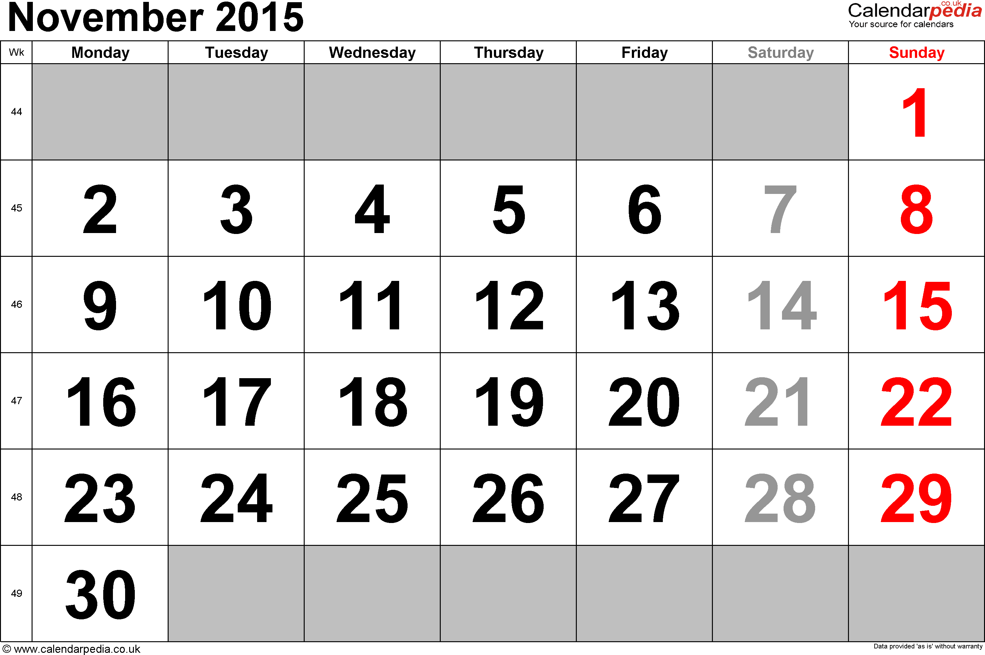Calendar November 2015, landscape orientation, large numerals, 1 page, with UK bank holidays and week numbers