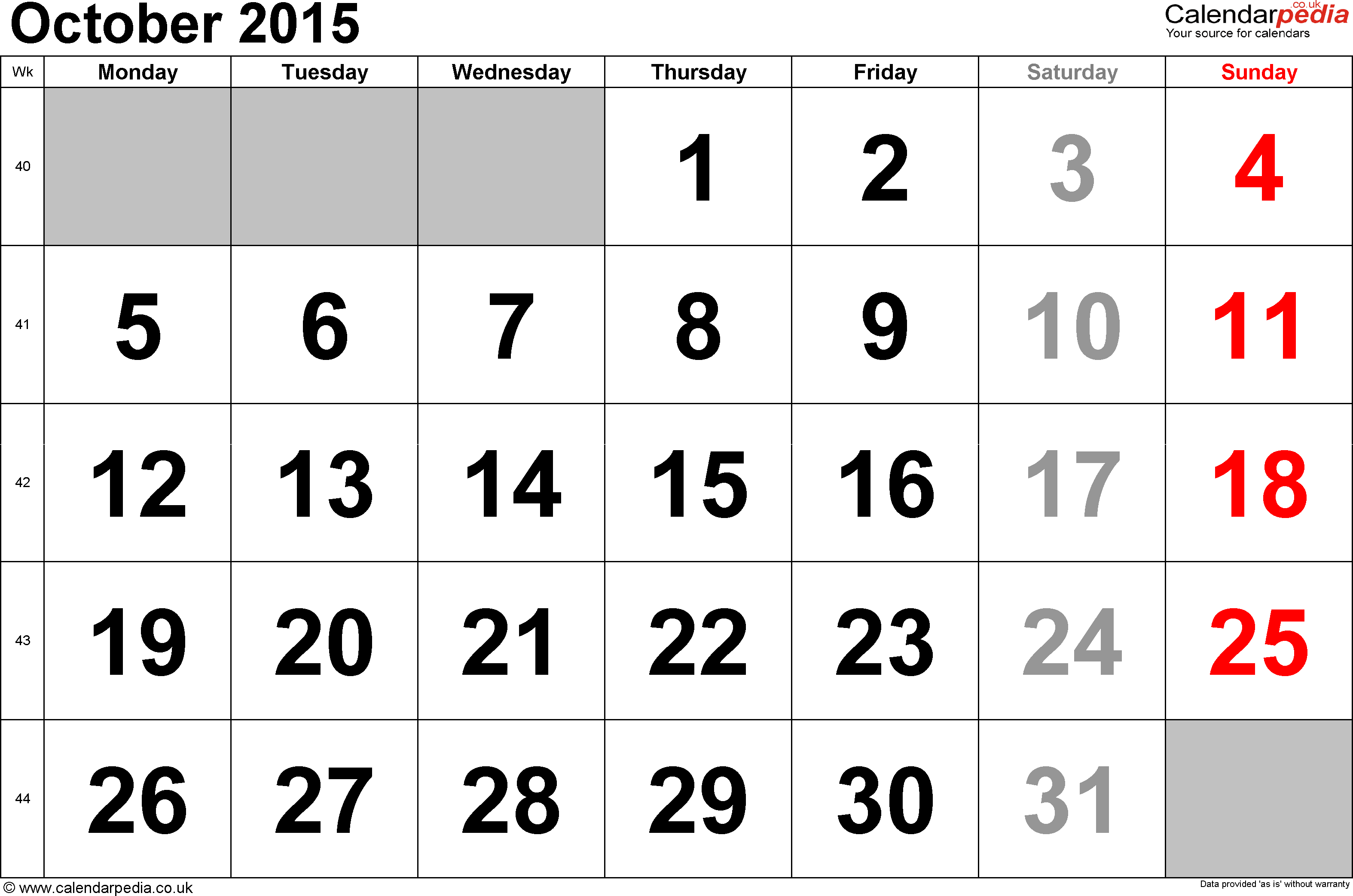 Calendar October 2015, landscape orientation, large numerals, 1 page, with UK bank holidays and week numbers