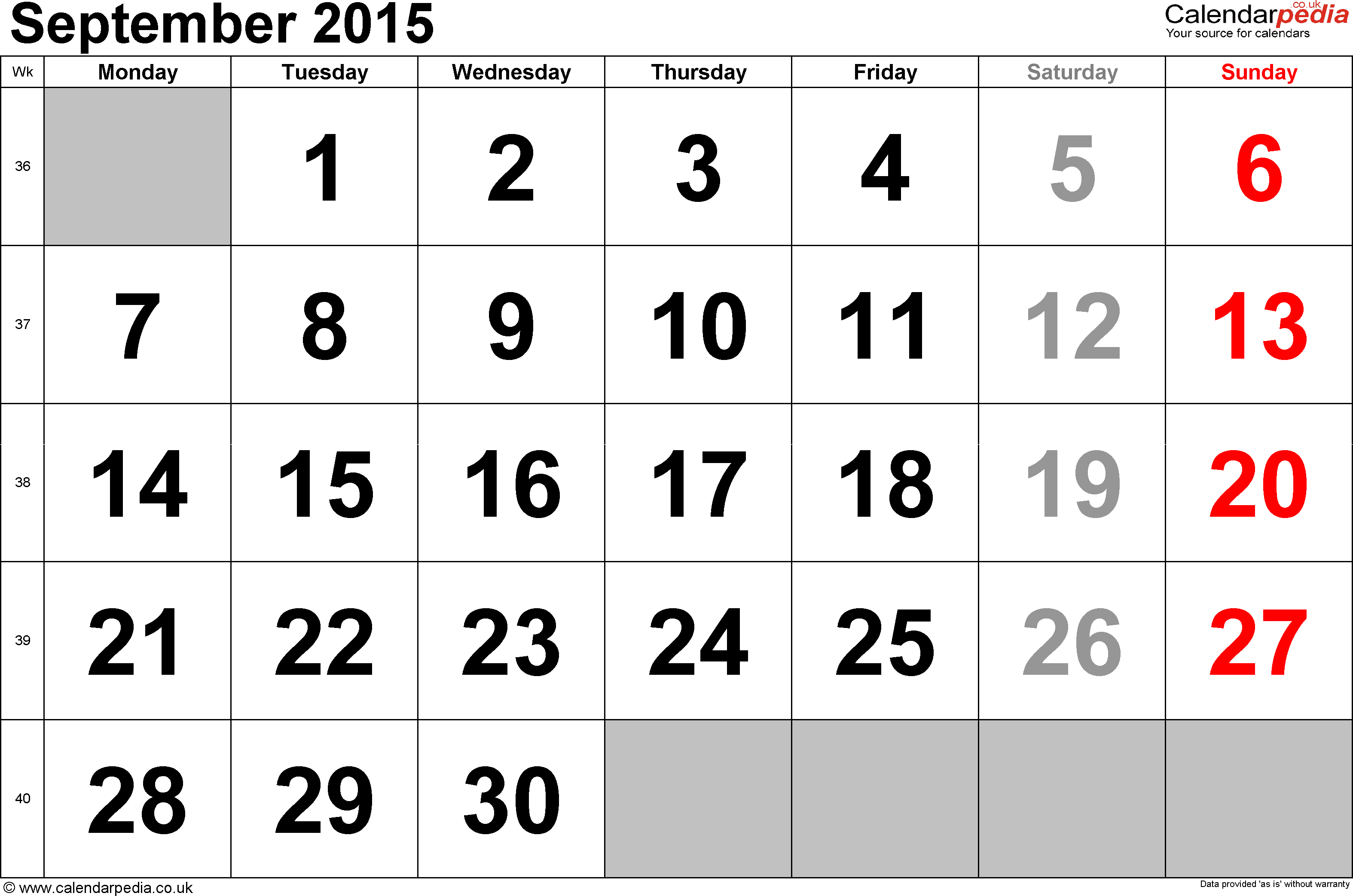 Calendar September 2015, landscape orientation, large numerals, 1 page, with UK bank holidays and week numbers