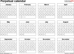 Template 5: Excel template for perpetual calendar (landscape orientation, 1 page)