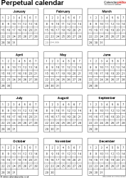 Template 6: Word template for perpetual calendar (portrait orientation, 1 page)