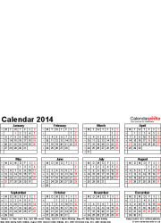 Template 4: Photo calendar 2014 for Excel, 12 pages, portrait format, whole year on one page