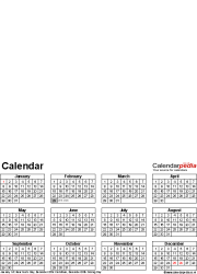 Template 4: Perpetual photo calendar for Word, 1 page, portrait format, whole year on one page