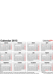 Download Template 4: Photo calendar 2013 for Microsoft Excel, 1 page, portrait format, whole year on one page
