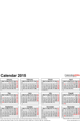 Template 4: Photo calendar 2015 for PDF, 1 page, portrait format, whole year on one page