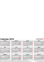 Template 4: Photo calendar 2016 for Word, 1 page, portrait format, whole year on one page