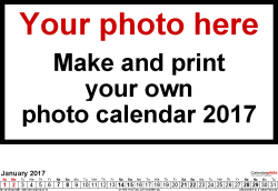 Template 5: Photo calendar 2017 for Excel, 12 pages, landscape format