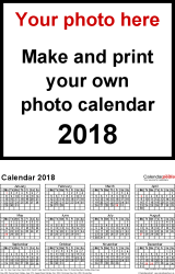 Download Template 4: Photo calendar 2018 for Microsoft Excel, 1 page, portrait format, whole year on one page