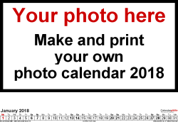 Template 5: Photo calendar 2018 for Excel, 12 pages, landscape format