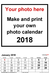 Template 2: Photo calendar 2018 for Excel, 12 pages, portrait format, large numerals for easy reading